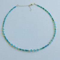 Aqua and sterling silver beaded choker, simple beaded choker, dainty choker, beaded choker, layering necklace
