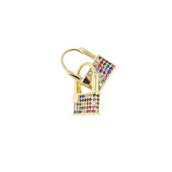 18K Yellow Gold Rainbow Lock Huggy Earrings