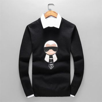 FENDI autumn and winter long-sleeved round neck men's knit loose sweater Black
