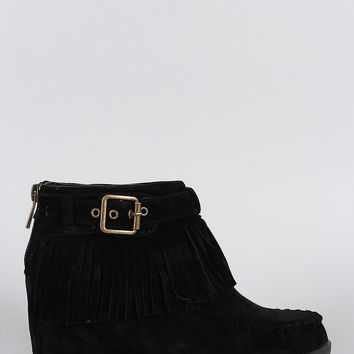 Bamboo Buckle Fringe Moccasin Hidden Wedge Booties
