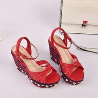 Gucci 2019 Women Loafers Ladies Casual Slippers Red Wedge Sandals Slippers