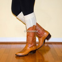 Ivory Diamond Cable Knit Thigh High Boot Socks