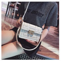 Chic Small Bag Female Shoulder Bag Rivet Embroidery Line Shoulder Bag Messenger Small Square Bag