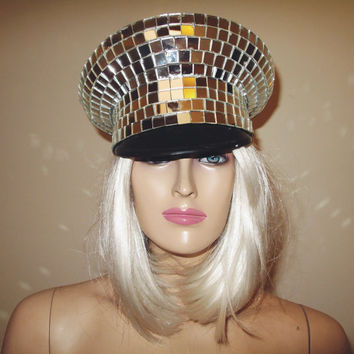 Disco Ball Mirror Officers Cap Hat