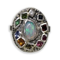 Franny E Jewelry Opal & Mixed Gem Statement Ring | Nordstrom