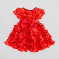 Rosette Bouquet Dress, Red, Sizes 2T-3T