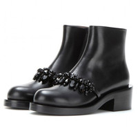 Faceted Stone and Chain Design Ankle Boots