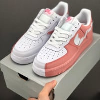 HCXX 19July 672 Nike Air Force 1 Low 315124 Irregular stitching Casual Skateboard Shoes white pink