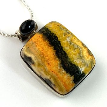 Bumble Bee Jasper & Onyx Sterling Silver Pendant
