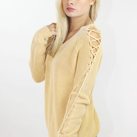 Faded Mustard Lace Up Shoulder Sweater