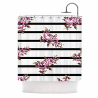 "NL Designs ""Purple Floral Stripes"" Black White Shower Curtain"