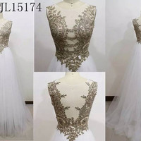 White and Gold beaded Lace Tulle  ball Gown Grecian Bridal Prom Evening dress