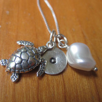 Ocean dreams sterling silver necklace with sea turtle, lovely pearl and small initial of your choice