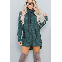 Chill With Me Cowl Neck Sweatshirt (Hunter Green)