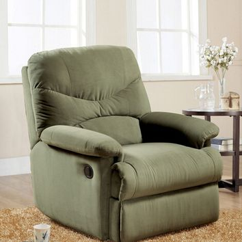 Arcadia sage microfiber fabric standard motion reclining recliner chair with overstuffed seats and arms