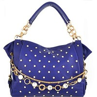 Bling! Gold Tone Rhinestone Studded Purse w/ Embellished Chain Accent Blue