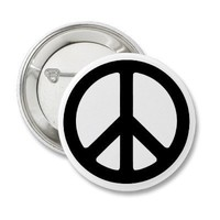 Classic Black Groovy Peace Symbol Button from Zazzle.com