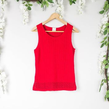 Vintage Red Sleeveless Knit Blouse