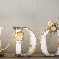I DO Solid Wooden Rustic Shabby Wedding Letters Hand Cuted,Hand Painted and Decorated with Natural Floral Ornaments