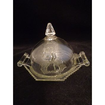 Jeannette Glass Baltimore Pear Butter Dish Dome Lid