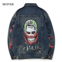MUSVER Joker Printed Denim Jackets Mens 2018 Spring Autumn New Hip Hop Casual Cotton Jean Jacket Male Fashion Streetwear Coats