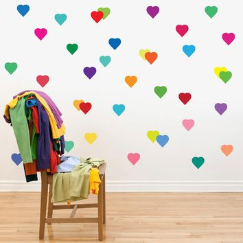 36 Rainbow Confetti Heart Wall Decals