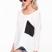 Contrast Waffle Sweater Top - LoveCulture
