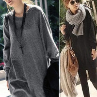 women lady loosed long knitted sweater girl knitted jumper coat one size = 1920488388
