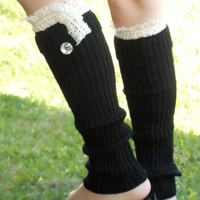 Lace trim  ribbed knit boot socks with buttons , leg warmers in black