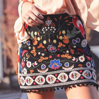 high waist floral embroidered skirt