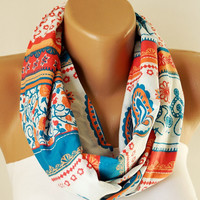 Infinity Scarf - Loop Scarf - Circle Scarf - Tribal Scarf - Historical Shape design- White, red, blue