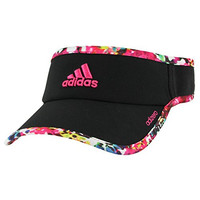 adidas Women's Adizero II Visor, One Size, Black/Floral Explosion/Shock Pink