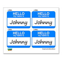 Johnny Hello My Name Is - Sheet of 4 Stickers