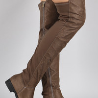 Suede Round Toe Riding Over-The-Knee Boots