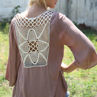 Take Me There Taupe Bell Sleeve Lace Up Top With Crochet Back