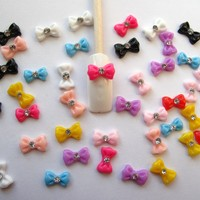 Nail Art 3d 45 Pieces Mix Bow/Rhinestone for Nails, Cellphones 1.2cm:Amazon:Beauty