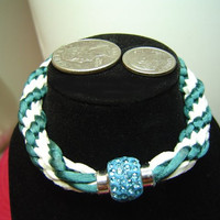 Small Wrists Kumihimo Bracelet Spiral Design Japanese Braiding Teal Green Rattail Genuine White Suede Pave Teal Crystals // 896