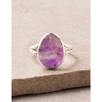 Natural Amethyst Ring - Silver