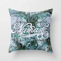 Namaste in Blue Throw Pillow by Kristy Patterson Design