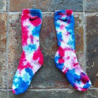 Red White and Blue Nike Tie Dye Socks , athletic wear , team sports , stocking stuffer, back to school