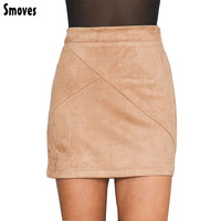 Smoves Womens Vintage 80`s Retro High Waist Patchwork Suede Skirt Thick Warm Winter Autumn Sping Casual Mini Pencil Skirts GS126