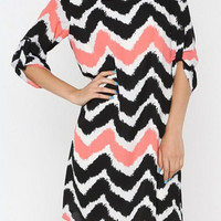 Pink and Black Chevron Tunic Dress with Round Neck
