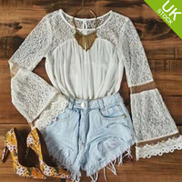 Casual Women's Sheer Long Sleeve Floral Lace Crochet Tee White Shirt Tops Blouse