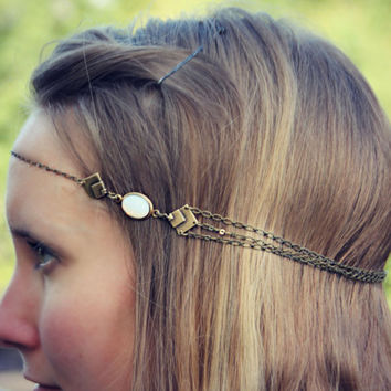 geometric white opal chain head piece, chain headband, triangle headband, metal headband, unique headband