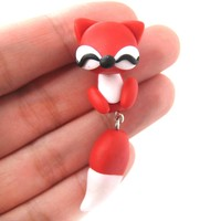 Handmade Fox Fake Gauge Two Part Polymer Clay Stud Earring in Red