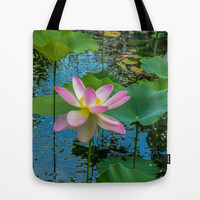 Lotus In The Pond 4 Tote Bag by Lanjee