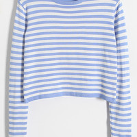 White Striped Long Sleeve Cropped Top