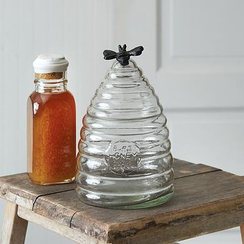 Small Honey Hive Glass Canister