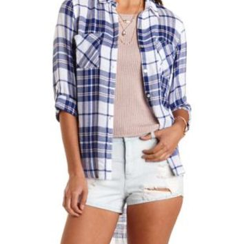 Navy Combo High-Low Button-Up Plaid Top by Charlotte Russe