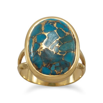 Stabilized Copper Infused Turquoise Ring 14K Gold Plated Sterling Silver